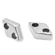 DQ European metal duo beads rhombus Antique Silver (nickel free)