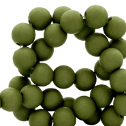 4 mm acrylic beads Dusty Olive Green