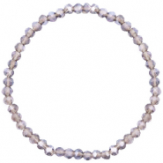 Top faceted bracelets 4x3mm Champagne Grey Crystal-Pearl Shine Coating