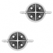 DQ European metal charms connector cross 10mm Antique Silver (nickel free)