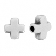 DQ European metal beads cross Antique Silver (nickel free)