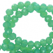 Top faceted beads 4x3mm disc Green Opal-Pearl Shine Coating