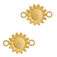 DQ European metal charms connector sunflower Gold (nickel free)