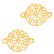 DQ European metal charms connector flower round 15mm Gold (nickel free)