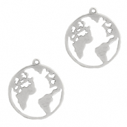 DQ European metal charms earth 20mm Antique Silver (nickel free)