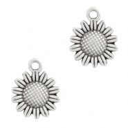 DQ European metal charms sunflower 15mm Antique Silver (nickel free)