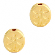 DQ European metal beads flower oval Gold (nickel free)