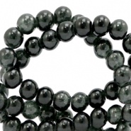 6 mm crackled glass beads Black
