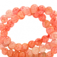 6 mm marbled glass beads Salmon Orange