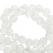 6 mm crackled glass beads White
