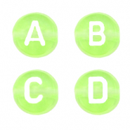 Acrylic letter beads mix Lime Zest Green Transparent