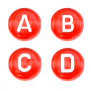 Acrylic letter beads mix Fiery Red Transparent