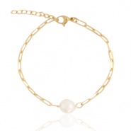 Stainless steel bracelets pearl Gold
