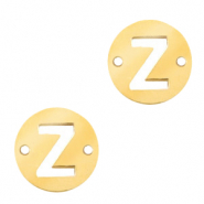 Stainless steel charms connector round 10mm initial coin Z Gold