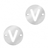 Stainless steel charms connector round 10mm initial coin V Silver