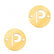 Stainless steel charms connector round 10mm initial coin P Gold