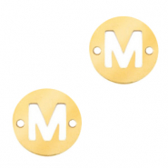 Stainless steel charms connector round 10mm initial coin M Gold