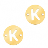 Stainless steel charms connector round 10mm initial coin K Gold