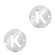 Stainless steel charms connector round 10mm initial coin K Silver