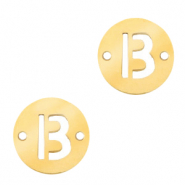 Stainless steel charms connector round 10mm initial coin B Gold