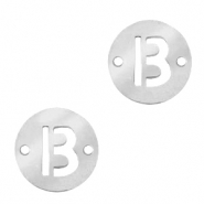 Stainless steel charms connector round 10mm initial coin B Silver