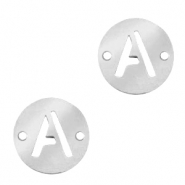 Stainless steel charms connector round 10mm initial coin A Silver