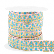 Elastic ribbon flower Pink-Turquoise Blue