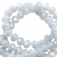Top faceted disc beads 4x3 mm Light grey-pearl diamond coating