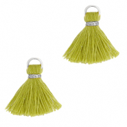 Tassels 1.5cm Silver-Light Olive Green