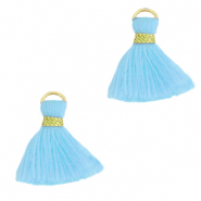 Tassels 1.5cm Gold-Light Blue