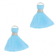 Tassels 1.5cm Silver-Light Blue
