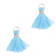 Tassels 1cm Silver-Light Blue