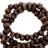 Wooden beads round 4mm Dark Chocolate Brown
