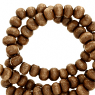 Wooden beads round 4mm Tobacco Brown