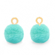 Pompom charms with loop 10mm Gold-Icy Morn Blue