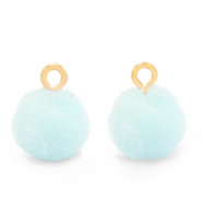 Pompom charms with loop 10mm Gold-Pastel Blue