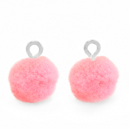 Pompom charms with loop 10mm Silver-Neon Pink
