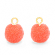 Pompom charms with loop 10mm Gold-Coral Pink