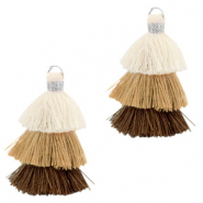 Tassels 3-layer 3.2cm Silver-Multicolour Brown