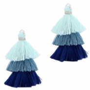 Tassels 3-layer 3.2cm Silver-Multicolour Blue
