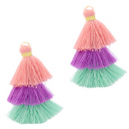 Tassels 3-layer 3.2cm Gold-Multicolour Green Purple