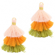 Tassels 3-layer 3.2cm Gold-Multicolour Orange Green