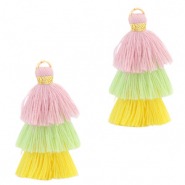 Tassels 3-layer 3.2cm Gold-Multicolour Yellow Green