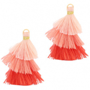 Tassels 3-layer 3.2cm Gold- Multicolour Rose Peach