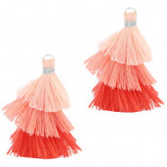 Tassels 3-layer 3.2cm Silver-Multicolour Rose Peach