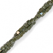 Top faceted beads cube 2x2mm Anthracite-Pearl Shine Coating