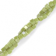 Top faceted beads cube 2x2mm Origano Green-Pearl Shine Coating