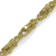 Top faceted beads cube 2x2mm Olive Green-Pearl Shine Coating