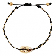 Anklets / Ankle bracelets Cowrie braided Black-Gold