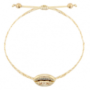 Anklets / Ankle bracelets Cowrie braided Sand Beige-Gold